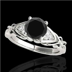 1.35 CTW Certified VS Black Diamond Solitaire Ring 10K White Gold - REF-54K9W - 35210