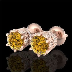 2.04 CTW Intense Fancy Yellow Diamond Art Deco Stud Earrings 18K Rose Gold - REF-209M3H - 38100
