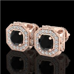 2.75 CTW Fancy Black Diamond Solitaire Art Deco Stud Earrings 18K Rose Gold - REF-178H2A - 38284