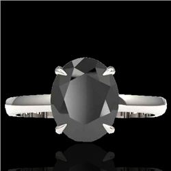 5 CTW Black VS/SI Diamond Designer Inspired Solitaire Ring 18K White Gold - REF-161A8X - 22055