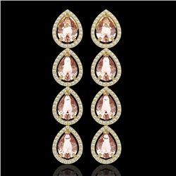 10.4 CTW Morganite & Diamond Halo Earrings 10K Yellow Gold - REF-259M3H - 41296