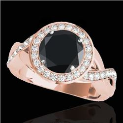 1.75 CTW Certified VS Black Diamond Solitaire Halo Ring 10K Rose Gold - REF-87A5X - 33271