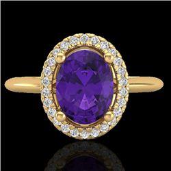 1.75 CTW Amethyst & Micro VS/SI Diamond Ring Solitaire Halo 18K Yellow Gold - REF-43T6M - 20999