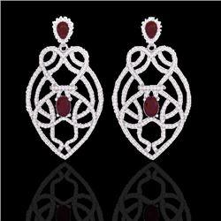 7 CTW Ruby & Micro VS/SI Diamond Heart Earrings Designer Solitaire 14K White Gold - REF-381W8F - 211