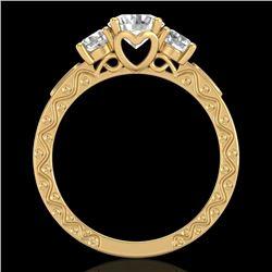 1.41 CTW VS/SI Diamond Solitaire Art Deco 3 Stone Ring 18K Yellow Gold - REF-263F6N - 37009