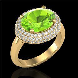 4.50 CTW Peridot & Micro Pave VS/SI Diamond Ring 18K Yellow Gold - REF-116W2F - 20921