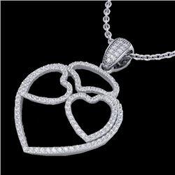 1.20 CTW Micro Pave VS/SI Diamond Designer Heart Necklace 14K White Gold - REF-110X9T - 22546