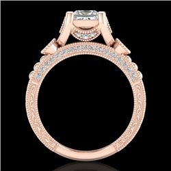1.75 CTW Princess VS/SI Diamond Art Deco Ring 18K Rose Gold - REF-445H5A - 37149