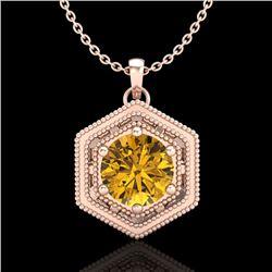 0.76 CTW Intense Fancy Yellow Diamond Art Deco Stud Necklace 18K Rose Gold - REF-94H5A - 37519