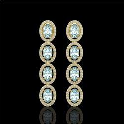 4.68 CTW Aquamarine & Diamond Halo Earrings 10K Yellow Gold - REF-115N6Y - 40528