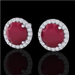 4 CTW Ruby & Halo VS/SI Diamond Micro Earrings Solitaire 18K White Gold - REF-80X2T - 21501