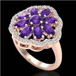 3 CTW Amethyst & VS/SI Diamond Cluster Designer Halo Ring 10K Rose Gold - REF-52Y2K - 20770