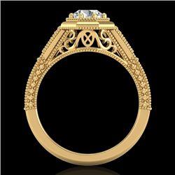 0.84 CTW VS/SI Diamond Solitaire Art Deco Ring 18K Yellow Gold - REF-236T4M - 37093