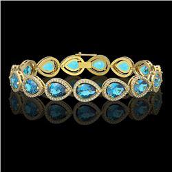 20.3 CTW Swiss Topaz & Diamond Halo Bracelet 10K Yellow Gold - REF-286N2Y - 41269