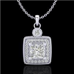 0.91 CTW Princess VS/SI Diamond Art Deco Stud Necklace 18K White Gold - REF-145W5F - 37130