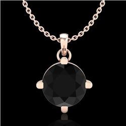 1 CTW Fancy Black Diamond Solitaire Art Deco Stud Necklace 18K Rose Gold - REF-48K2W - 38074