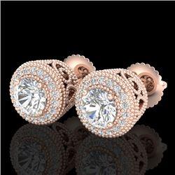 1.55 CTW VS/SI Diamond Solitaire Art Deco Stud Earrings 18K Rose Gold - REF-259N3Y - 36963
