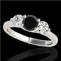 2 CTW Certified VS Black Diamond 3 Stone Solitaire Ring 10K White Gold - REF-177A3X - 35388