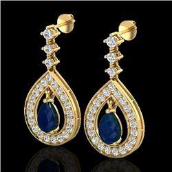 2.25 CTW Sapphire & Micro Pave VS/SI Diamond Earrings Designer 14K Yellow Gold - REF-105W5F - 23156