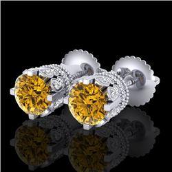 3 CTW Intense Fancy Yellow Diamond Art Deco Stud Earrings 18K White Gold - REF-349F3N - 37364