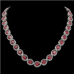 41.6 CTW Tourmaline & Diamond Halo Necklace 10K White Gold - REF-832N4Y - 41204