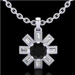 1.33 CTW Fancy Black Diamond Solitaire Art Deco Stud Necklace 18K White Gold - REF-136N4Y - 37870