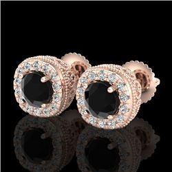 1.69 CTW Fancy Black Diamond Solitaire Art Deco Stud Earrings 18K Rose Gold - REF-121T8M - 37990