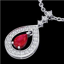 1.15 CTW Ruby & Micro Pave VS/SI Diamond Necklace Designer 14K White Gold - REF-60F9N - 23168