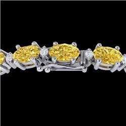 12 CTW Citrine & VS/SI Diamond Eternity Bracelet 10K White Gold - REF-72A5X - 21446