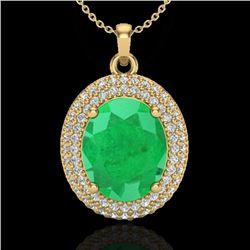 4.50 CTW Emerald & Micro Pave VS/SI Diamond Necklace 18K Yellow Gold - REF-120T9M - 20563