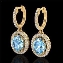 4.25 CTW Sky Blue Topaz & Micro VS/SI Diamond Earrings Halo 18K Yellow Gold - REF-94X8T - 20318