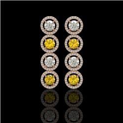 5.50 CTW Canary Yellow & White Diamond Designer Earrings 18K Rose Gold - REF-789X5T - 42603