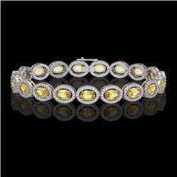 12.73 CTW Fancy Citrine & Diamond Halo Bracelet 10K White Gold - REF-226M9H - 40493
