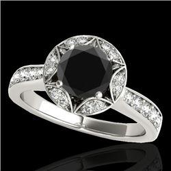 1.5 CTW Certified VS Black Diamond Solitaire Halo Ring 10K White Gold - REF-77F3N - 34232