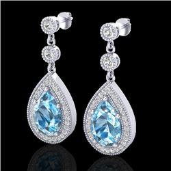 7.50 CTW Sky Topaz & Micro Pave VS/SI Diamond Earrings Designer 18K White Gold - REF-68T9M - 23124