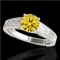 1.5 CTW Certified Si/I Fancy Intense Yellow Diamond Antique Ring 10K White Gold - REF-236K4W - 35198