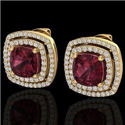 4.55 CTW Garnet & Micro Pave VS/SI Diamond Halo Earrings 18K Yellow Gold - REF-104M9H - 20166