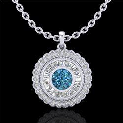 2.11 CTW Fancy Intense Blue Diamond Solitaire Art Deco Necklace 18K White Gold - REF-227M3H - 37915