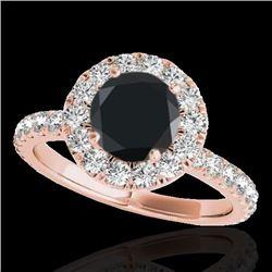 2 CTW Certified VS Black Diamond Solitaire Halo Ring 10K Rose Gold - REF-87M5H - 33449