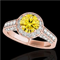 1.8 CTW Certified Si/I Fancy Intense Yellow Diamond Solitaire Halo Ring 10K Rose Gold - REF-178N2Y -