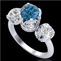 3 CTW Fancy Intense Blue Diamond Solitaire Art Deco 3 Stone Ring 18K White Gold - REF-418H2A - 37432