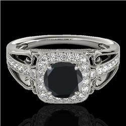 1.3 CTW Certified VS Black Diamond Solitaire Halo Ring 10K White Gold - REF-66Y4K - 33772