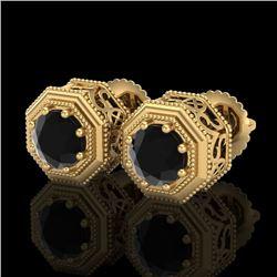 1.07 CTW Fancy Black Diamond Solitaire Art Deco Stud Earrings 18K Yellow Gold - REF-72T8M - 37935