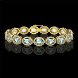 24.32 CTW Sky Topaz & Diamond Halo Bracelet 10K Yellow Gold - REF-248K9W - 40633