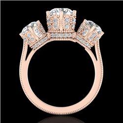 3.06 CTW VS/SI Diamond Solitaire Art Deco 3 Stone Ring 18K Rose Gold - REF-585A8X - 36849