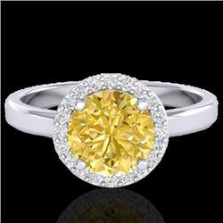 2 CTW Citrine & Halo VS/SI Diamond Micro Pave Ring Solitaire 18K White Gold - REF-48M5H - 21626