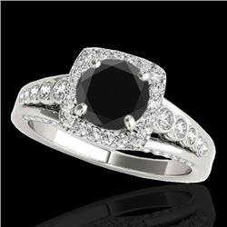 1.75 CTW Certified VS Black Diamond Solitaire Halo Ring 10K White Gold - REF-97F8N - 34313