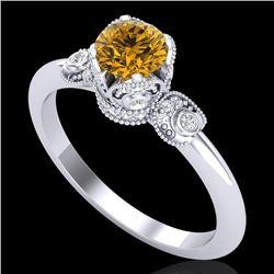 1 CTW Intense Fancy Yellow Diamond Engagement Art Deco Ring 18K White Gold - REF-127K3W - 37399