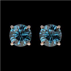 1.03 CTW Certified Intense Blue SI Diamond Solitaire Stud Earrings 10K Rose Gold - REF-87W2F - 36591