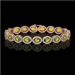 13.87 CTW Peridot & Diamond Halo Bracelet 10K Rose Gold - REF-251A6X - 40479